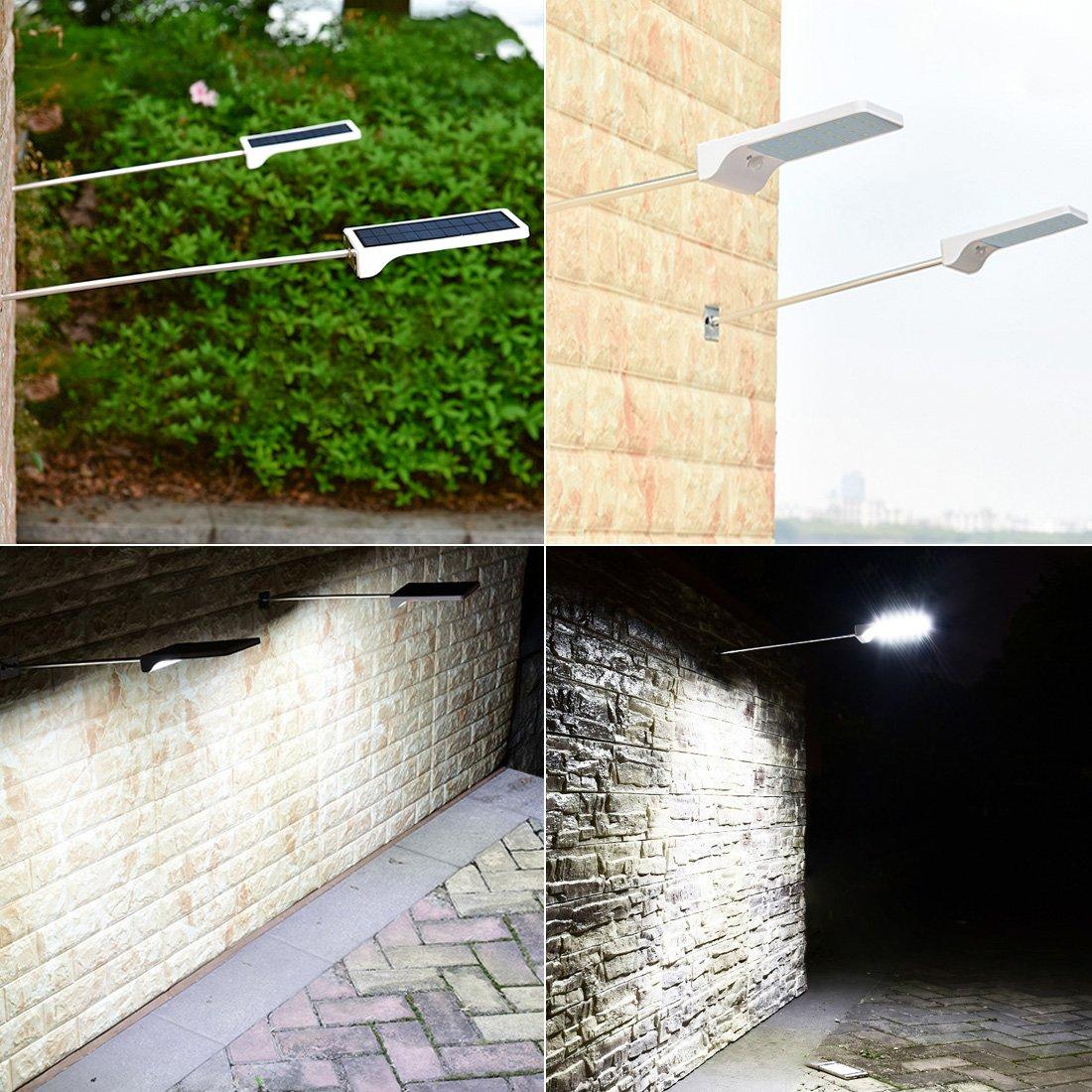 1pack LEDMO Luces sensor solares LED,36 leds foco solar sensor led,IP65 Impermeable luz led exterior pared Luz de sensor de movimiento inal/ámbrico para Jardin,Patio,Camino