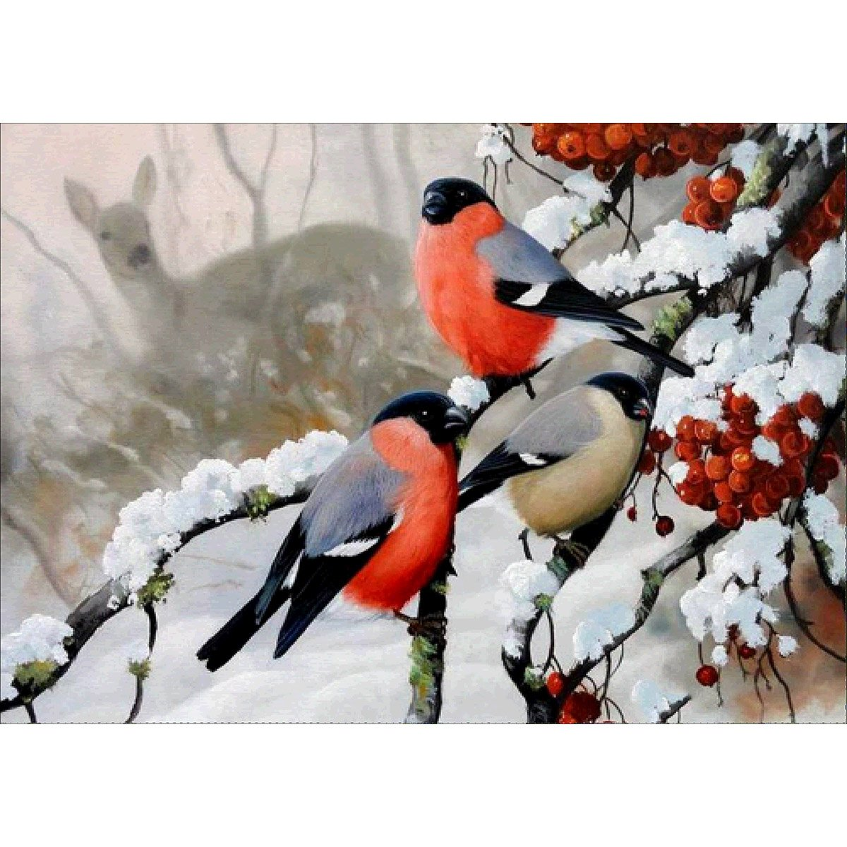 LAZODA DIY 5D Full Drill Diamond Painting Rhinestone Embroidery Cross Stitch Arts Craft for Home Decoration Winter Bird 30*40CM