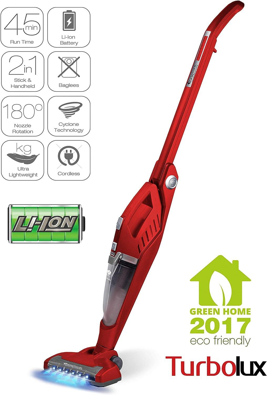 2 en 1 aspirador + - Aspiradora de mano con batería de ión litio 18,5 V sin bolsa led rojo (Red): Amazon.es: Hogar