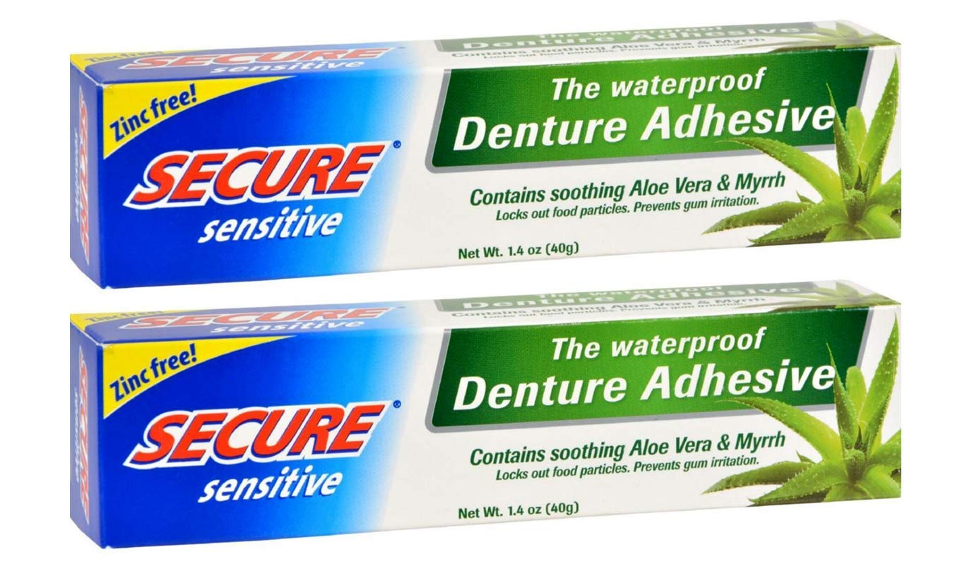 Secure Sensitive Gums Waterproof Denture Adhesive Zinc Free with Aloe Vera & Myrrh - Extra Strong 12 Hour Hold - 1.4 oz (Pack of 2) : Beauty