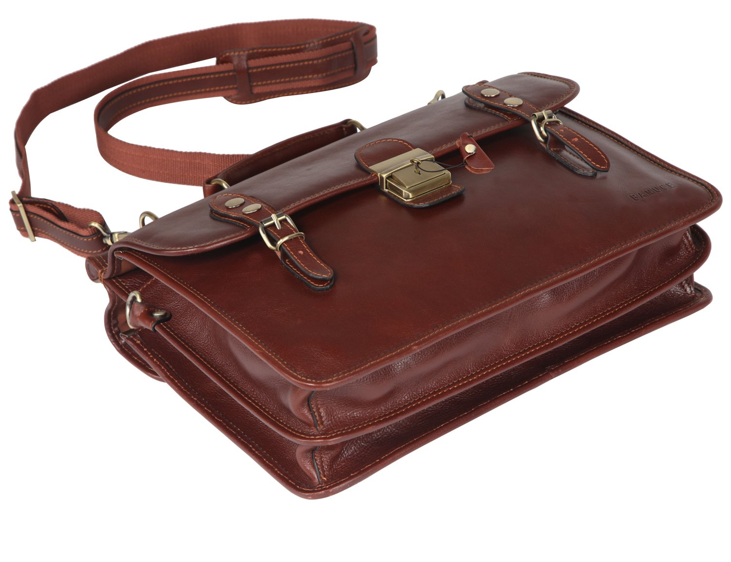 Banuce Mens Italian Leather Flapover Briefcase Tote 2way Business Laptop Messenger Bag Attache Case by Banuce (Image #5)