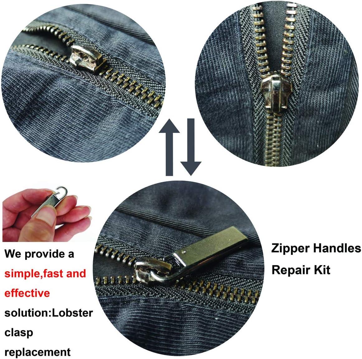 Zpsolution Zipper Pull Replacement Metal Zipper Handle Mend Fixer Zipper Tab Repair for Luggage Suitcases Bag