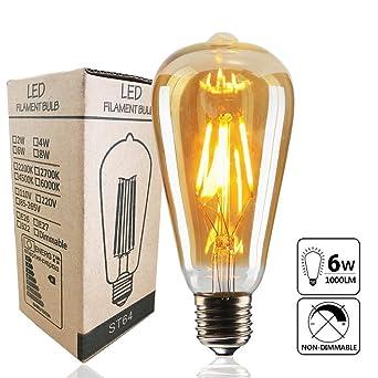 Edison Vintage Glühbirne,led Lampe Warmweiß E27 Retro Antike 6 Stück Außenstrahler & Flutlichter Beleuchtung