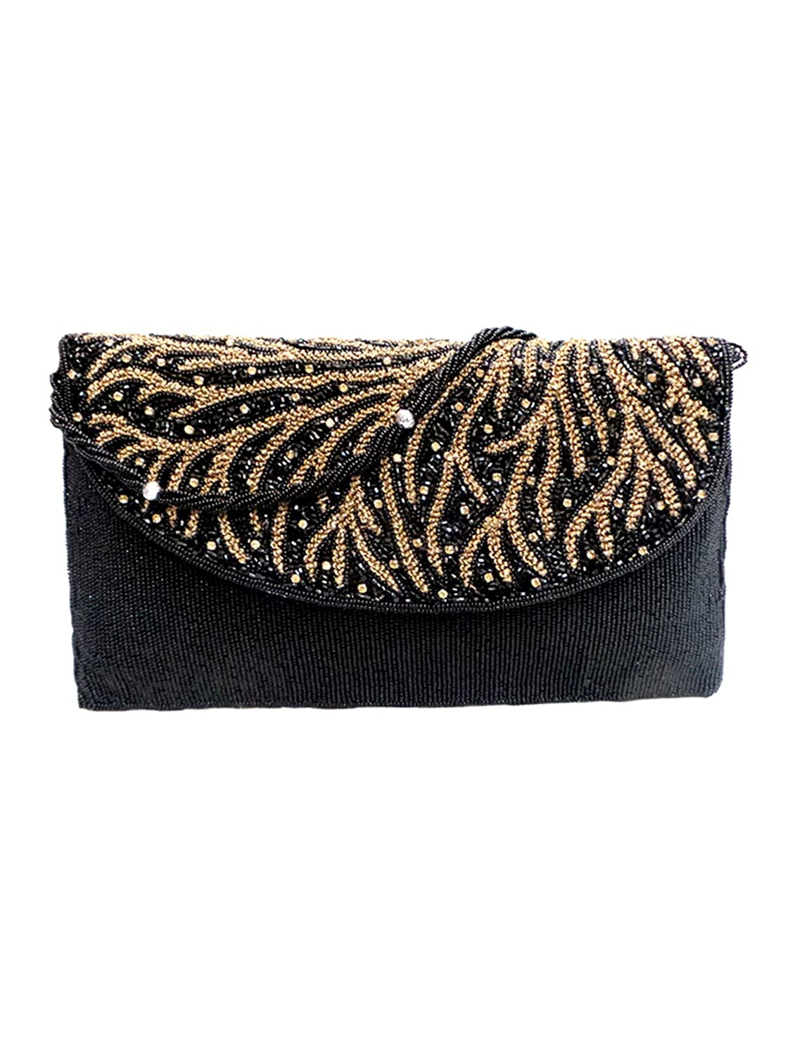 Bhamini Autumn Bead Clutch (Black)