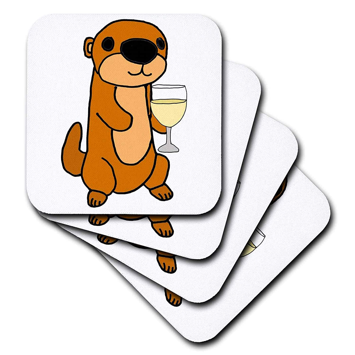 cst/_288165/_1 3dRose All Smiles Art Drinking Funny Cute Sea Otter Drinking Wine Cartoon Soft set of 4 Coasters