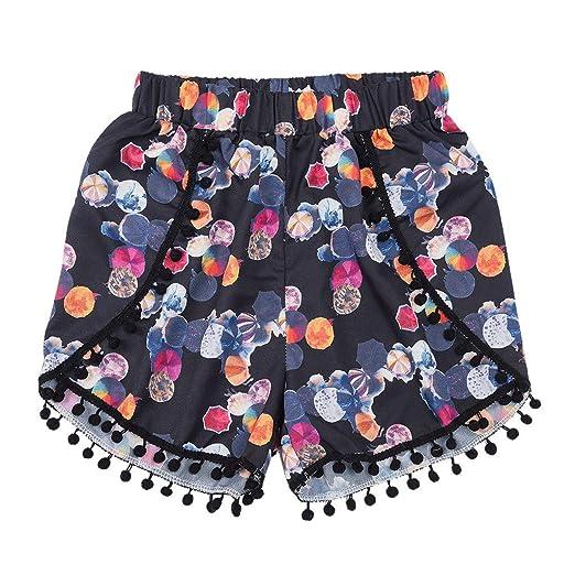 e350ff006b UROSA Womens High Waist Lace Print Elastic Shorts Pants Loose Shorts 2019  Black