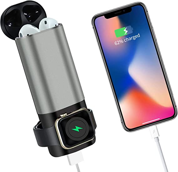 3 in1 Portable Wireless Power Bank Compatible with Airpods 1&2 iWatch Series 4 3 2 1, 5300mAh Pocket Sized USB Charger Compatible with iPhone, iPad,