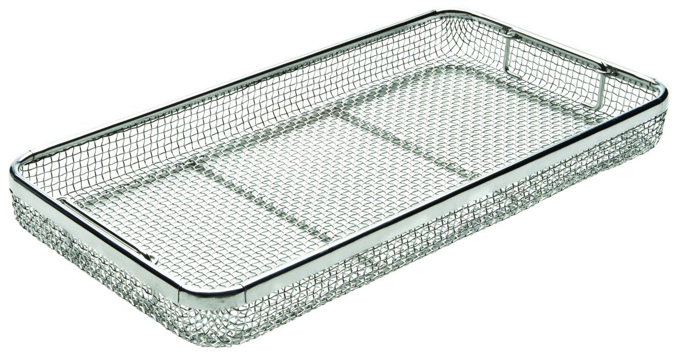 Key Surgical MT-9000 Mesh Tray with Drop Handles, Stainless Steel, 480 mm x 250 mm x 50 mm