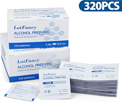 Alcohol Prep Pads by LotFancy, 320 Count Isopropyl Rubbing Alcohol Wipes, Sterile Alcohol Swabs, Individually Wrapped, 2-Ply, Latex-Free