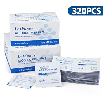 34d1140ba0ab6 Alcohol Prep Pads by LotFancy, 320 Count Isopropyl Rubbing Alcohol Wipes,  Sterile Alcohol Swabs,...