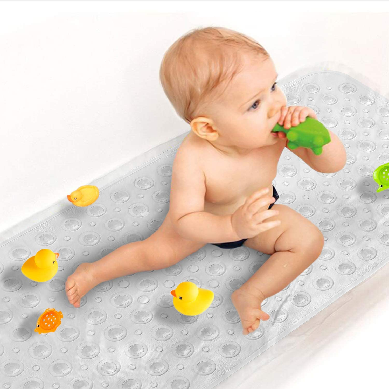 Sheepping Baby Bath Mat Non Slip Extra Long Bathtub Mat for Kids 40 X 16 Inch - Eco Friendly Bath Tub Mat with 200 Big Suction Cups,Machine Washable Shower Mat (Clear): Home & Kitchen