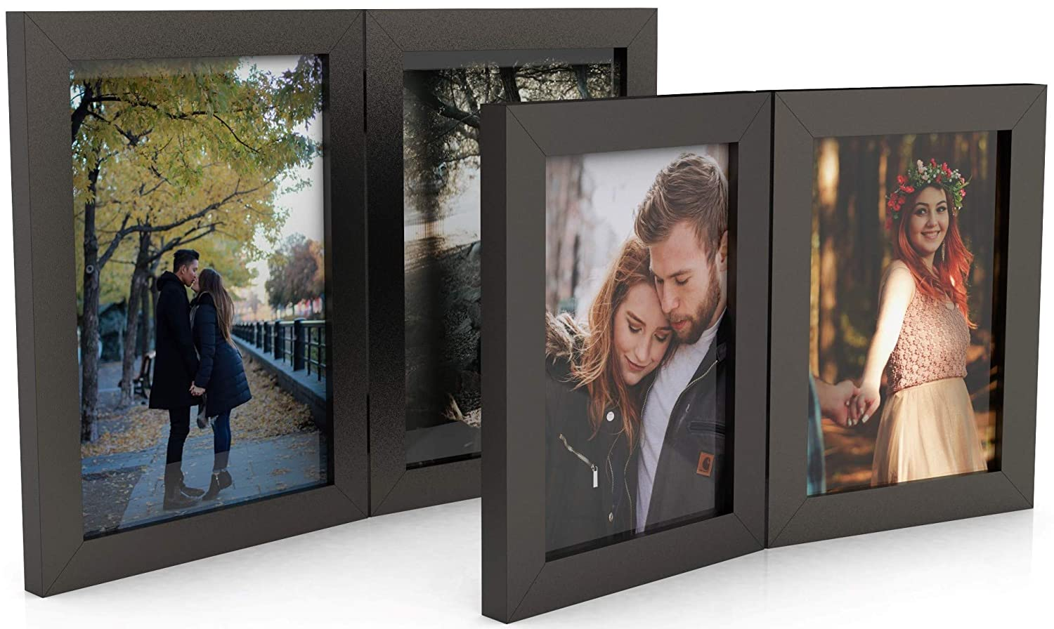 2 Pack Double Photo Frame Two Frame Sizes Timeless Design Hand Made Wooden Picture Frames for 4x6 and 5x7 Photos Smooth Finish Wood Frame Easily Display Multiple Photos Hinge Frame