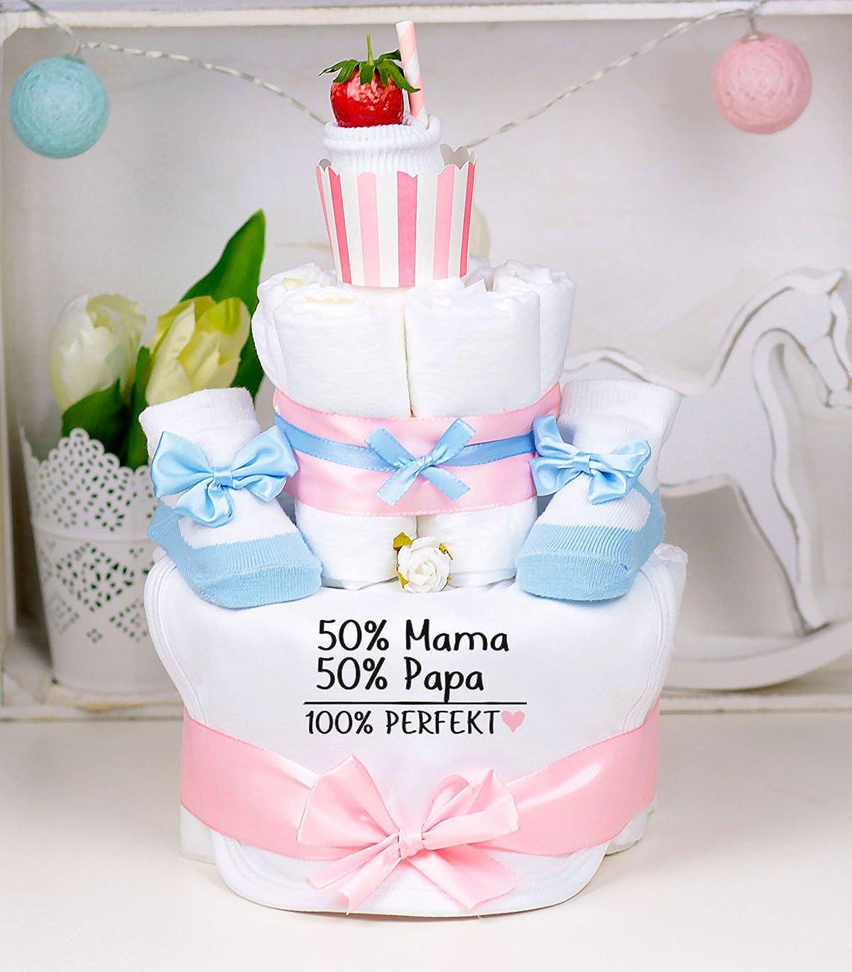50/% Papa,100/% Perfekt Trend Mama Windeltorte Cupcake rosa-hellblau M/ädchen L/ätzchen Babysocken 50/% Mama
