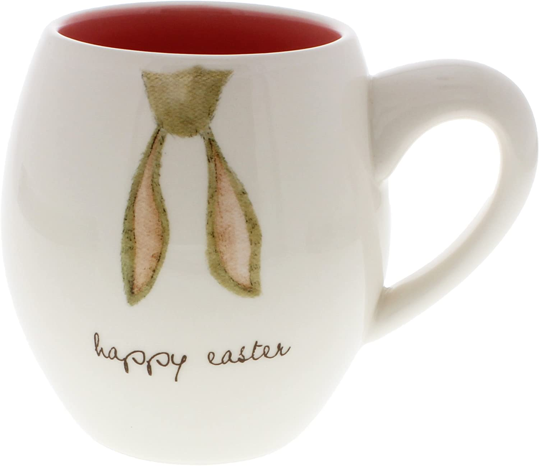 Rae Dunn by Magenta Happy Easter Hippity Hop Bunny Ears Coffee Mug Pink Interior