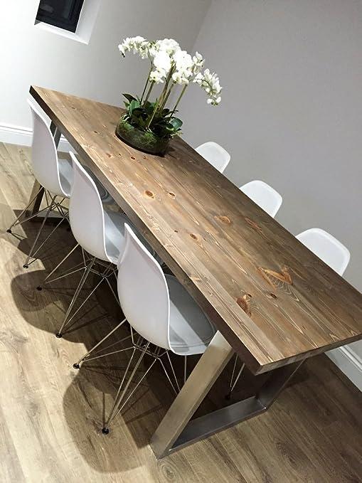 Mesa de comedor con patas de acero inoxidable en forma de U ...