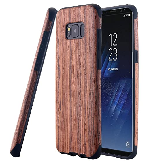 buy popular 86a83 9ead8 Galaxy S8 Case, LONTECT [Slim Matte] [Shock Absorbing] Flex TPU Non Slip  Wood Tactile Extra Grip Rubber Bumper Case Cover for Samsung Galaxy S8 - ...