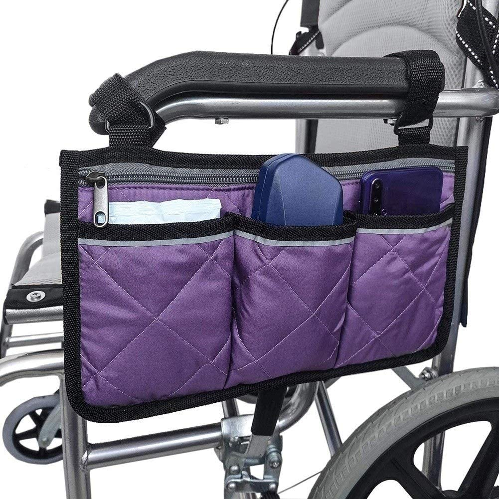 Wheelchair Bag, Wheelchair Bags for The armrest,Suitable for Storage Bags for Walking aid Accessories, Electric wheelchairs, and Scooters
