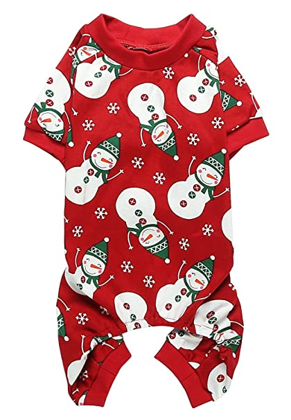 Christmas Pajamas For Dog.Lanyarco Lovely Small Pet Dogs Pajamas Clothes 100 Cotton Snowman Snowflake Red