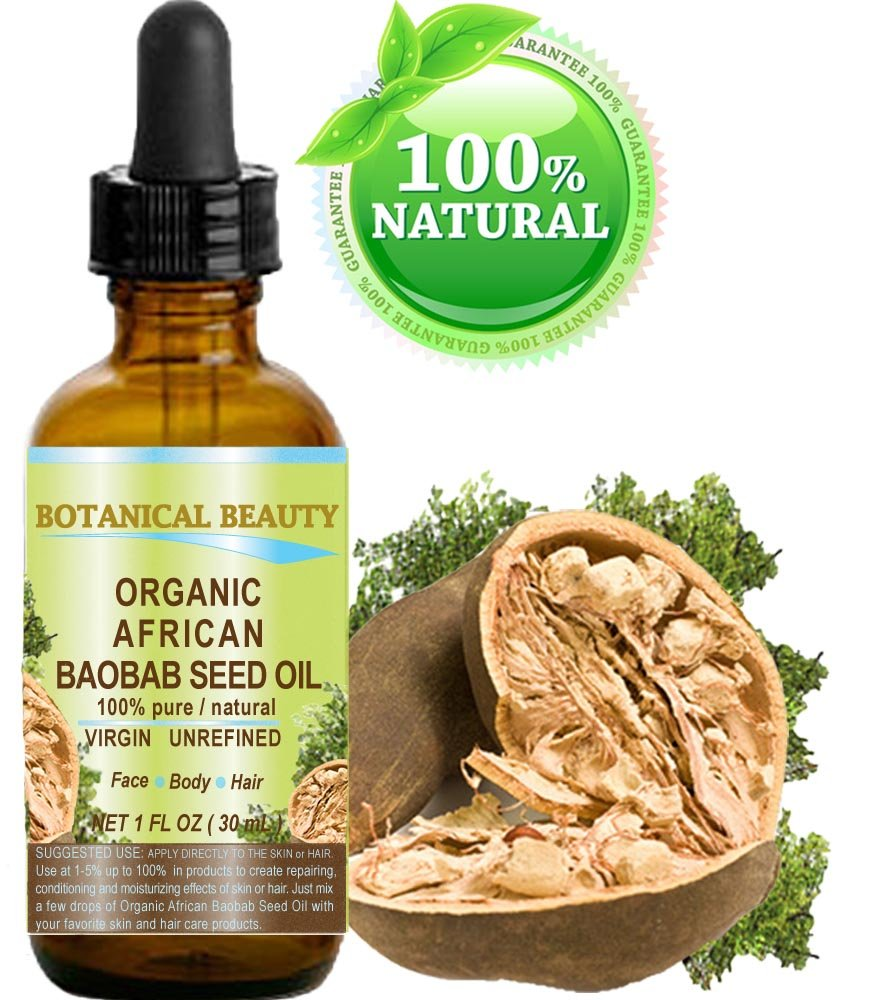 ORGANIC BAOBAB SEED Oil AFRICAN. 100% Pure/Natural/Undiluted/VIRGIN/UNREFINED Cold Pressed Carrier Oil. For Skin, Hair, Lip and Nail Care. (1 Fl. oz. - 30 ml.) Botanical Beauty