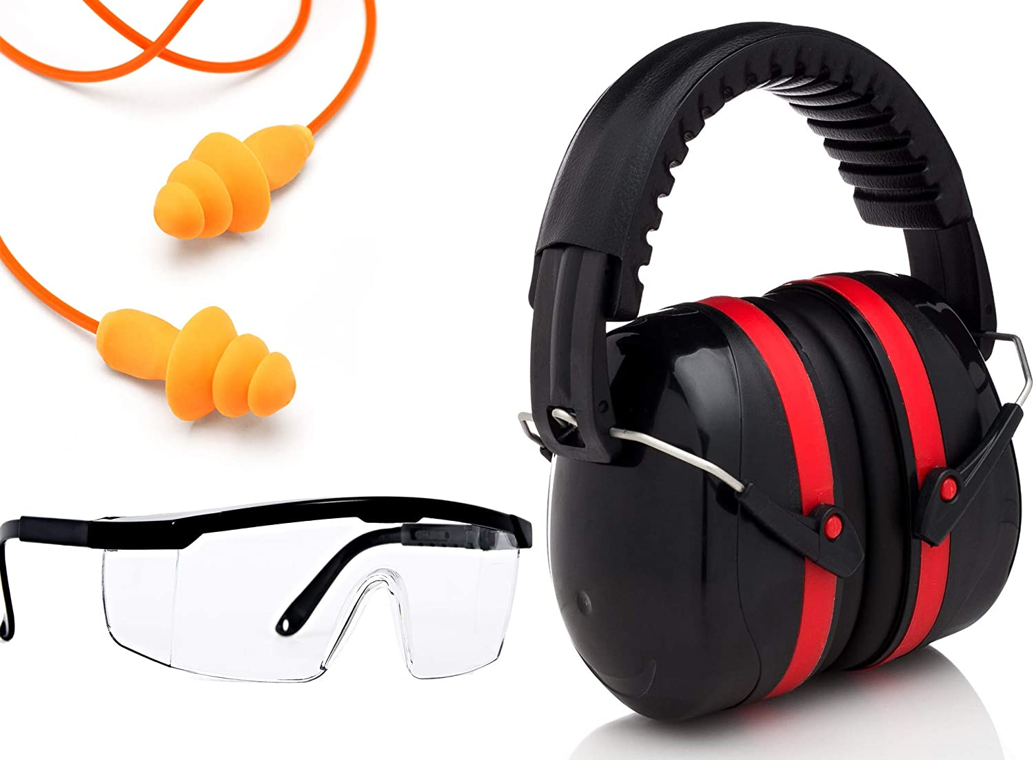 Ear Noise hearing Protection Muffs, Ear Plugs, Safety Glasses, for Shooting set