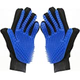 DHMAKER Pet Grooming Glove, Gentle Deshedding Brush Efficient Pets Hair Remover Mitt-1 Pair