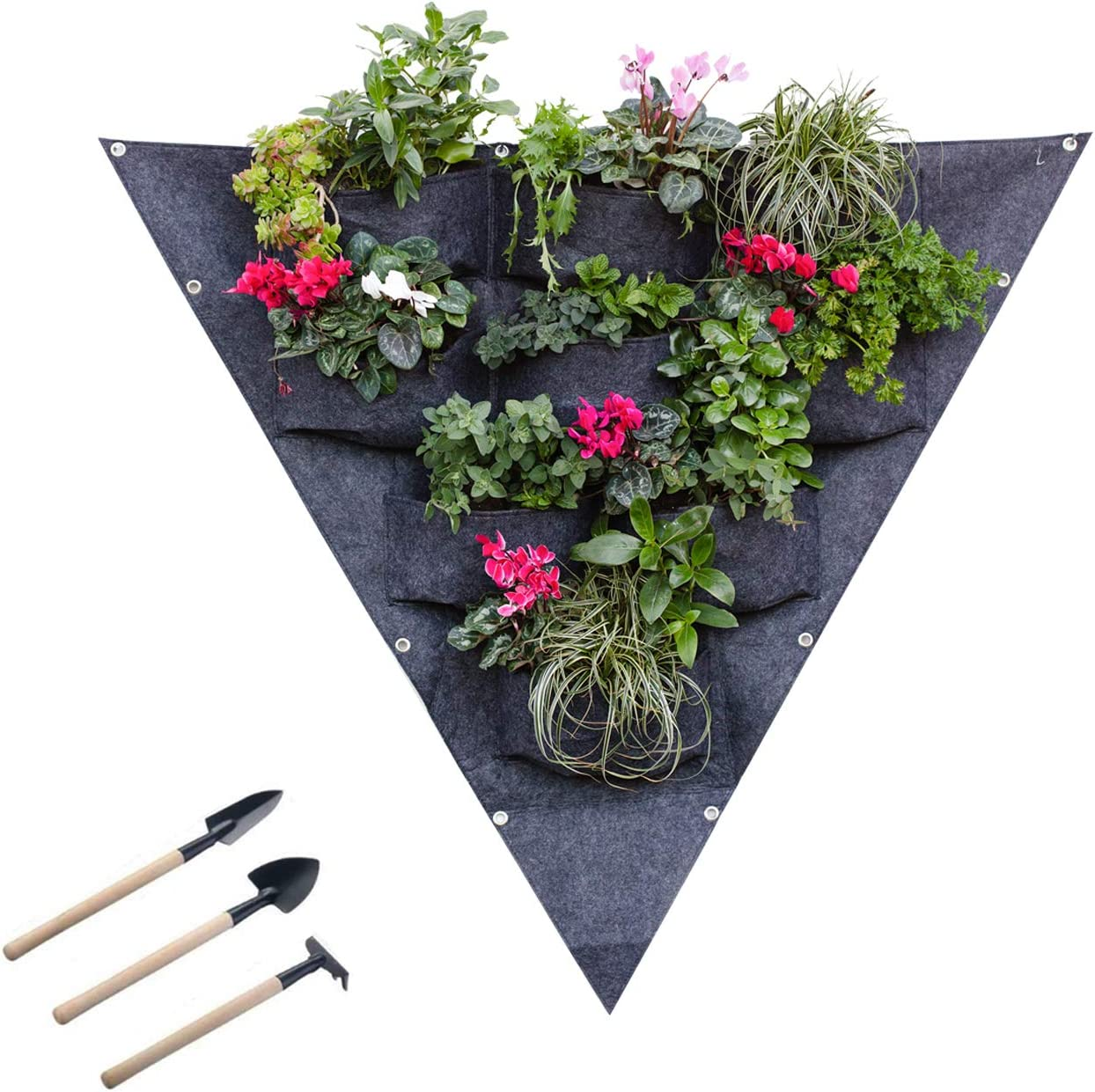 Vertical Hanging Garden Wall Planter 9 Pockets - Waterproof Hanging Planter for Balcony, Patio, Courtyards. Ideal for Planting Herbs, Flowers, Vegetables. Set of Small Garden Tools Included