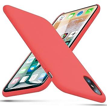 iPhone X Funda, BKSTONE Carcasa prueba de golpes de goma y gel de silicona líquida con suave microfibra Cojín forro de tela para Apple iPhone X ...