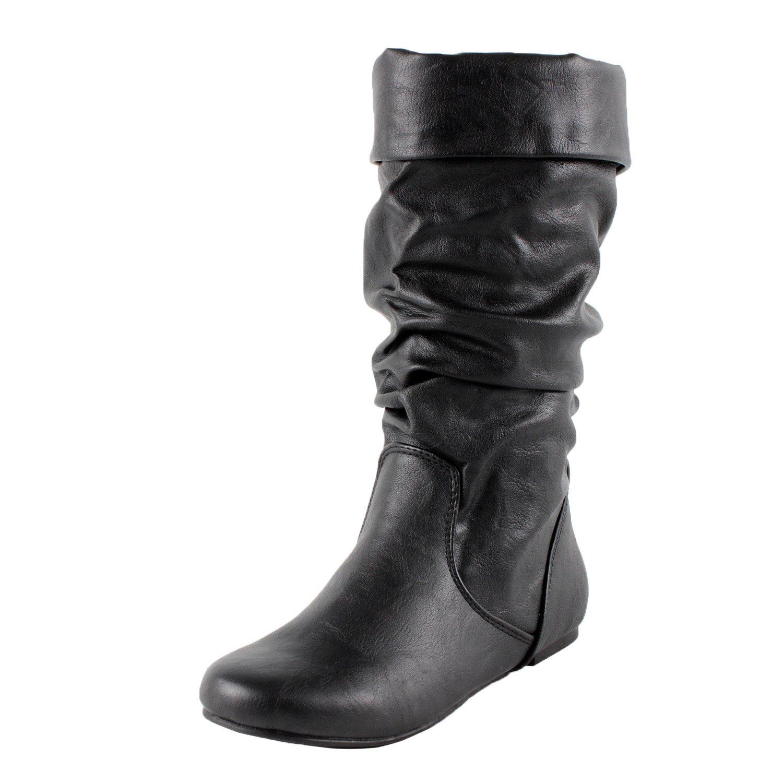 Soda Image Womens Comfortable Flat Mid Calf Boot Shoes B00KZ3BAQA 9 B(M) US|Blackpu