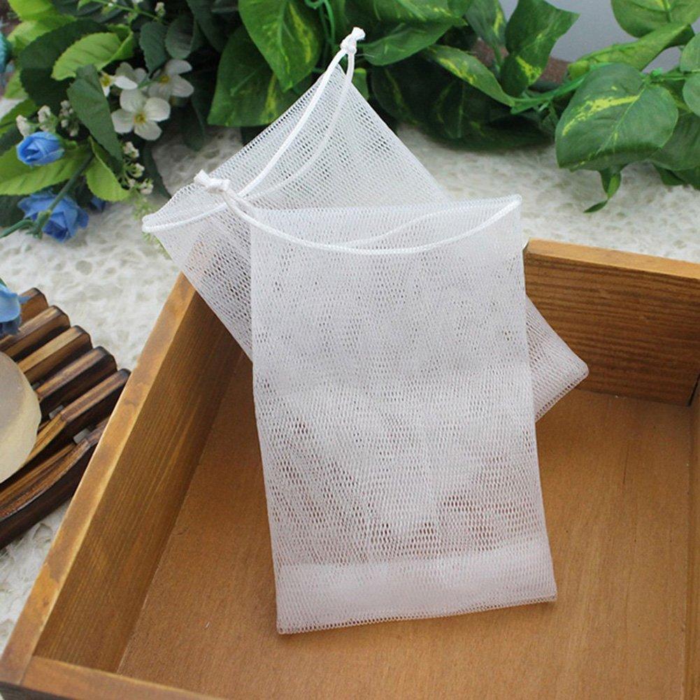 Gaeruite Sac de savon, sac de maille de savon fait à la main de mousse de savon de bulle de savon, perles de Bath éponge de savon de sac de filet (20 pcs)