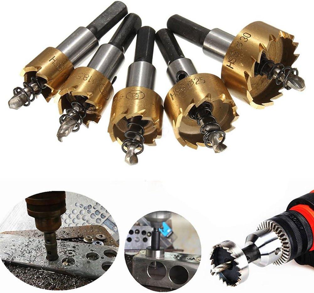 5Pcs Carbide Tip HSS Drill Stainless Steel Metal Alloy Bit Hole Saw Set 16-30mm