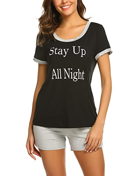 Ekouaer Sleepwear Women Summer Pajamas Short Sleeve Tee Shirt and ... 1c1562417