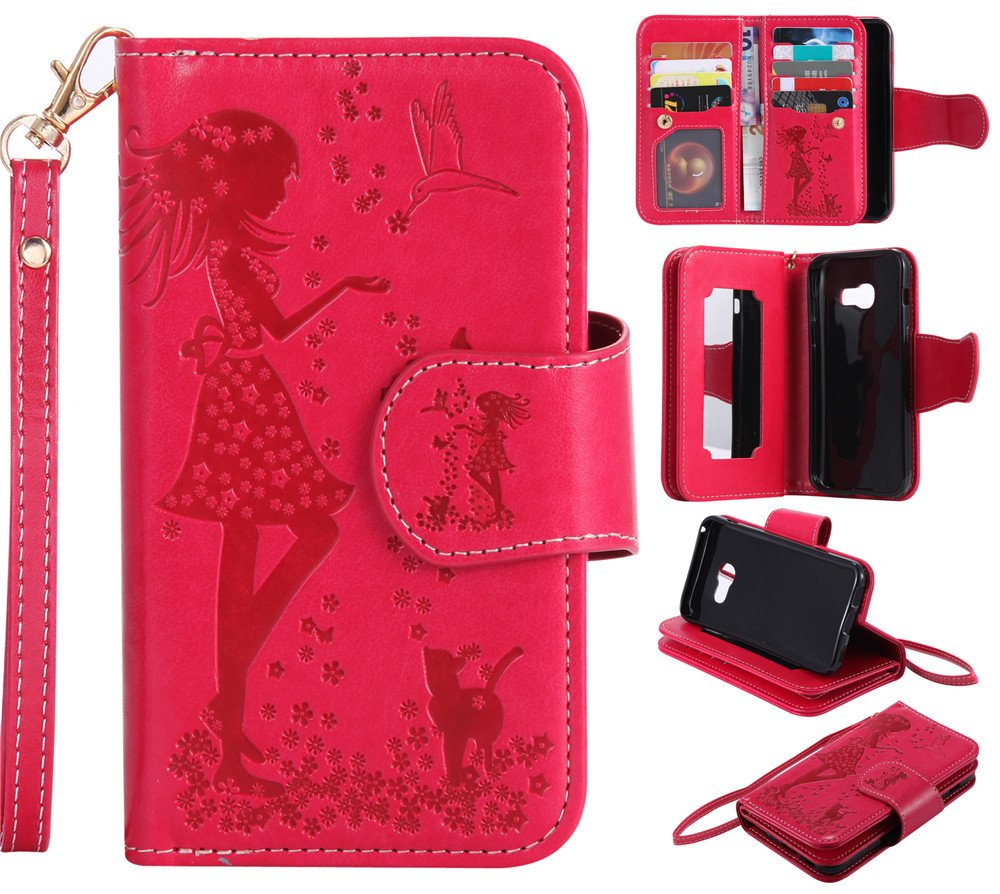 9 Card Slot Red IVY Galaxy A5 PU Leather Embossing Girls and Cats Wallet Case Flip Cover for Samsung A5 SM-A520 2017 Mirror