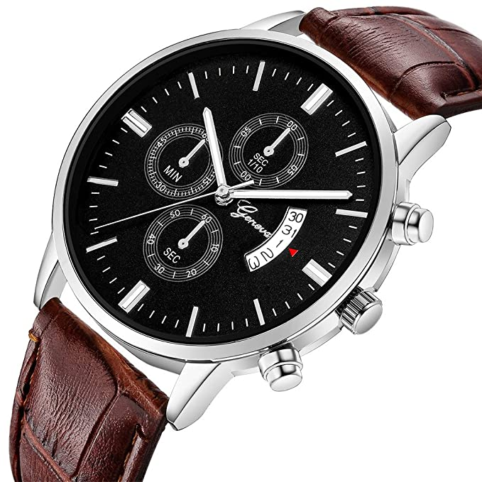 Amazon.com: Watches for Men, DYTA Geneva Business Watches with Silver Stainless Steel Case Leather Strap Under 55 Casual Analog Quartz Watch Wrist Watchs ...