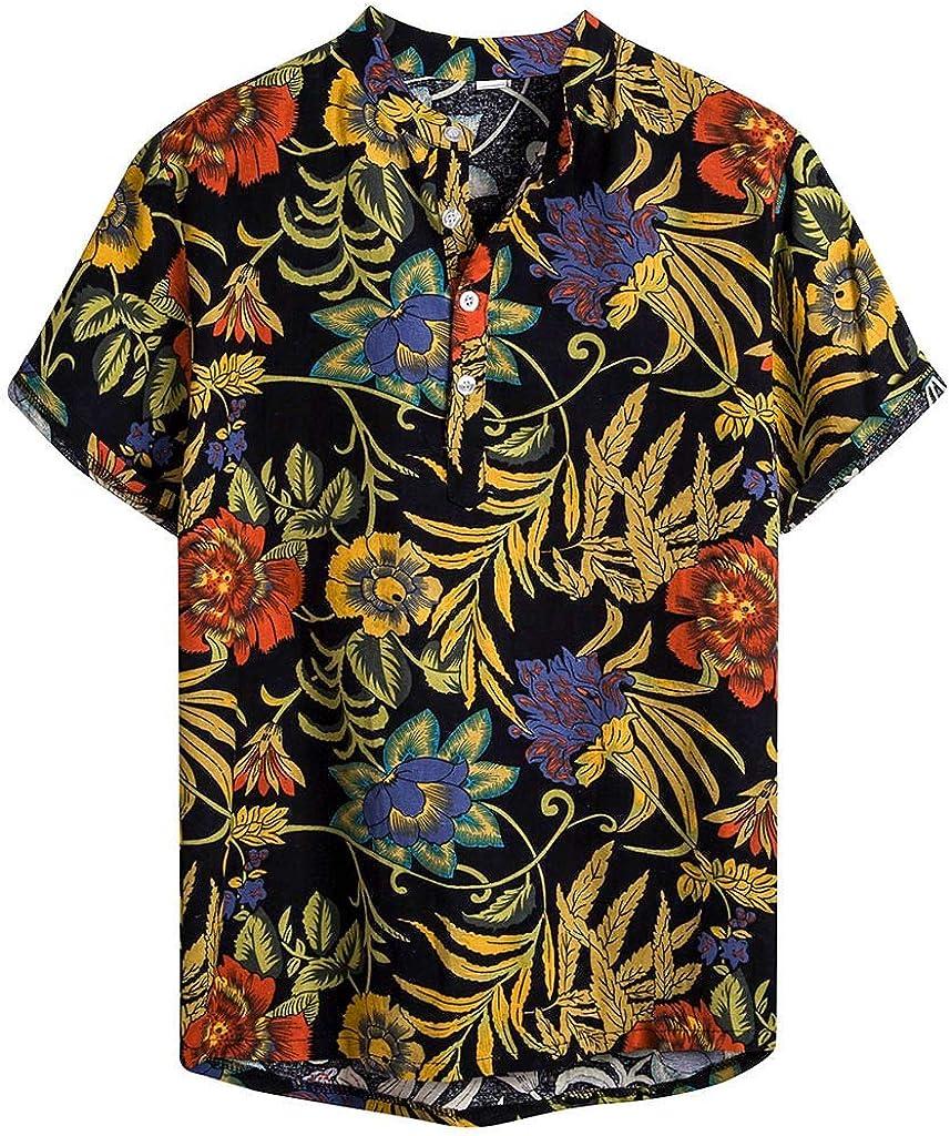LEKODE Men Henley Blouse Fashion Printed Beach Cotton Linen Hawaiian Shirt