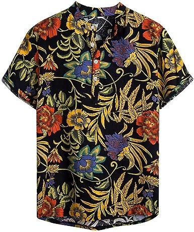 Camisa con Cuello de Algodón de Manga Corta con Estampado de Hojas para Hombre Henry Camisa con Cuello Superior de Viento étnico para Hombre Camisa Delgada de Hombre Flores: Amazon.es: Ropa y