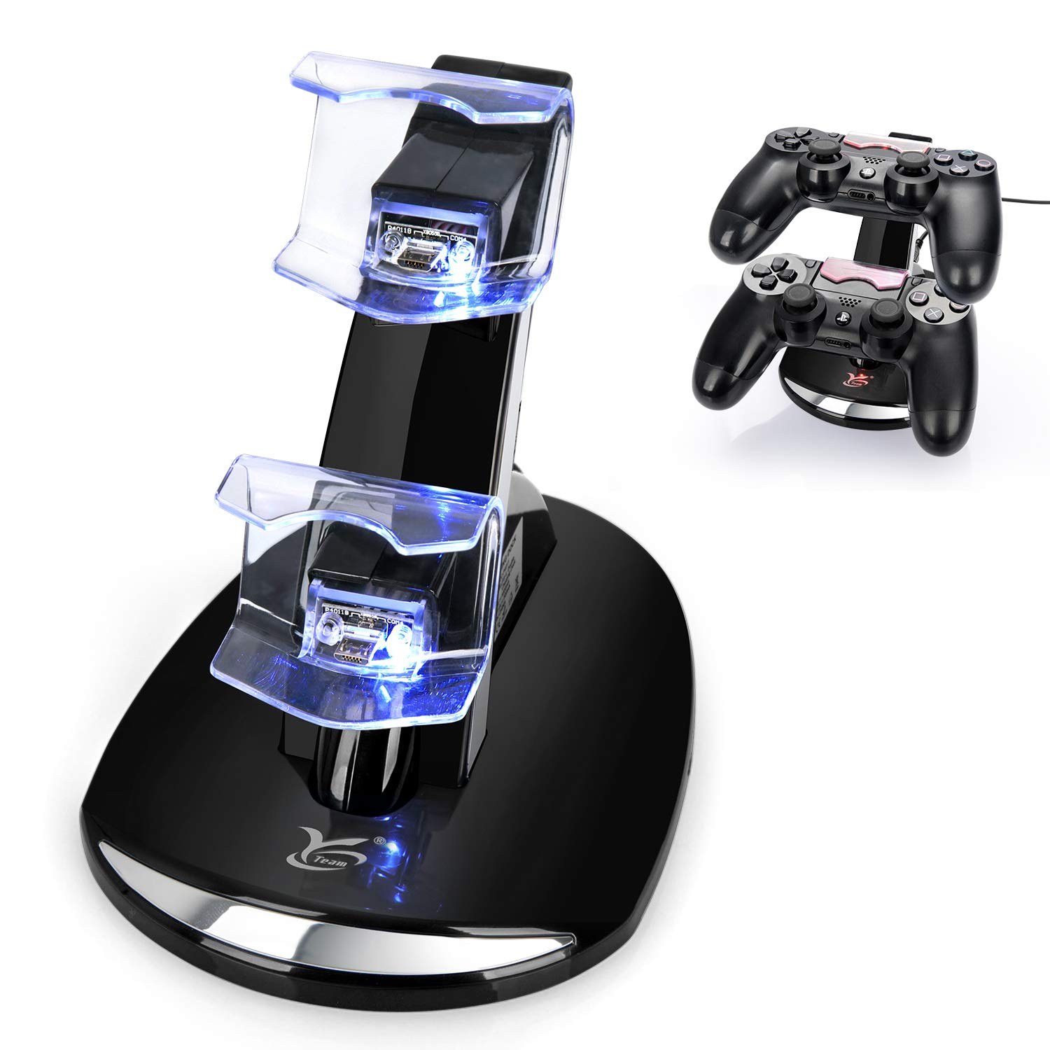 PS4 Controller Charger, Y Team Playstation 4 / PS4 / PS4 Pro / PS4 Slim Controller Charger Charging Docking Station Stand.Dual USB Fast Charging Station & LED Indicator for Sony PS4 Controller-Black