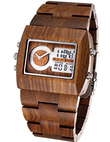 350e361cd135 Reloj de Pulsera Artesanal para Hombre de Madera de sándalo 100 % Natural   Amazon.es  Relojes