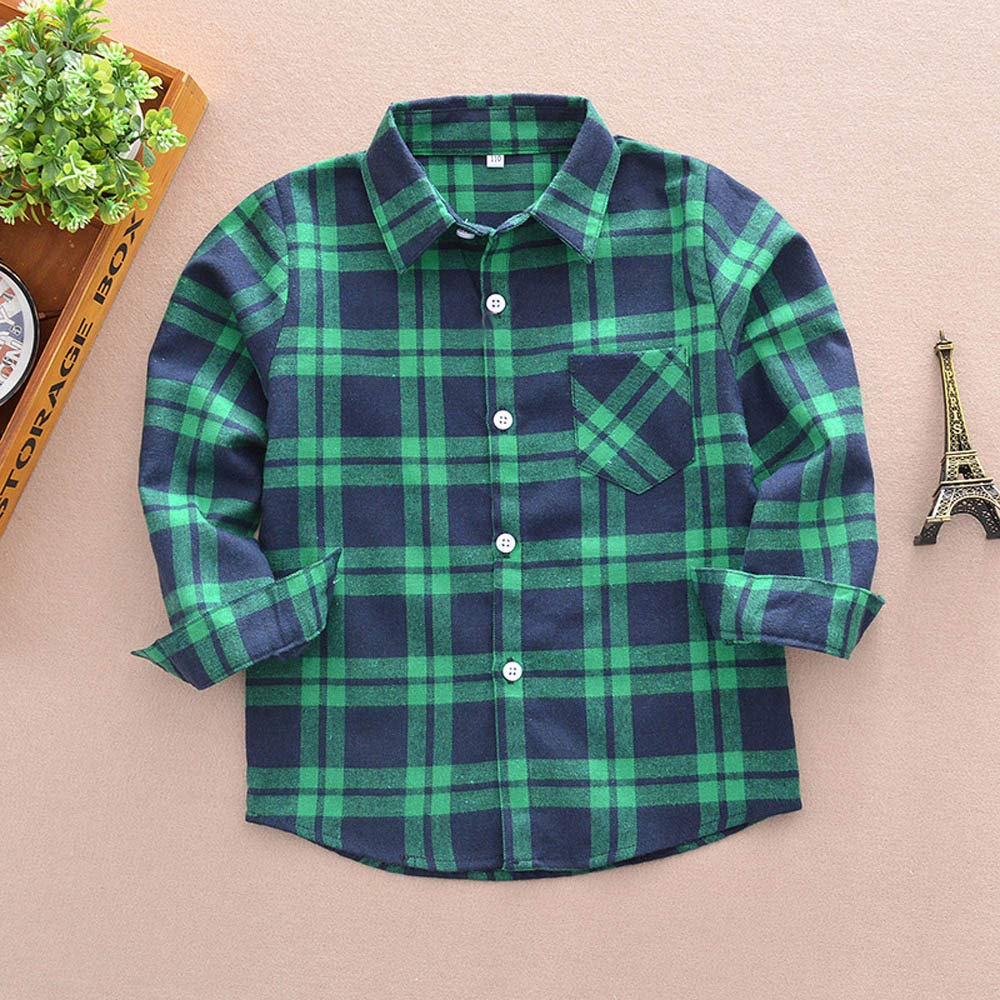 Kintaz Kids Little Boys Girls Long Sleeve Button Down Plaid Flannel Shirt Blouse Tops with Pocket Age:4-5 Years, Green