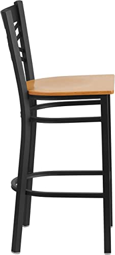 Flash Furniture HERCULES Series Black X Back Metal Restaurant Barstool – Natural Wood Seat