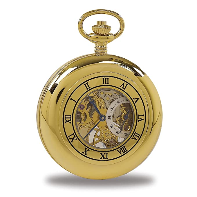 Amazon.com: Vintage Pocket Watch with Chain by Rapport - Classic Oxford Half Hunter Pocket Watch with Roman Numeral Skeleton Dial - Gold: Watches