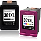hp 301 n9j72ae cartouches d 39 encre noire trois couleurs authentiques pack de 2. Black Bedroom Furniture Sets. Home Design Ideas