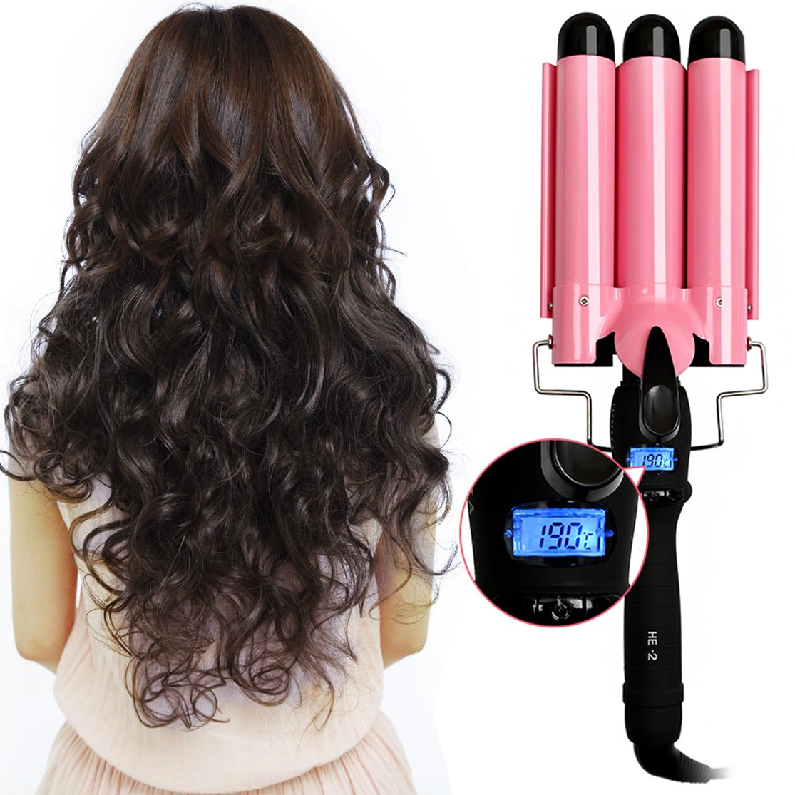 Three Barrel Curling Iron Quick Heated Ceramic Curling Wand Professional Hair Styler Hair Curlers, Black Pink2