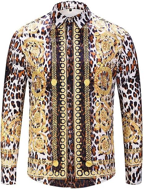 CHENS Camisa/Camisetas/Casual/Camisa de Primavera para Hombre, Color Verde, Estampado de Leopardo, Manga Larga, Camisa de Hombre.: Amazon.es: Deportes y aire libre