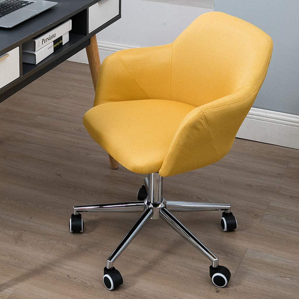 Svängbar stol hem ryggstöd lat stol mitten av ryggen dator skrivbord stolar verkställande kontorsstol med hudvänlig linnetyg ergonomisk design 360 ° rotation, blå gUL