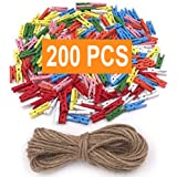 10 Colors Millennial Essentials CP250 Mini Natural Wooden Clothespins with Jute Twine Hanging Photos 250pcs 1 Inch Photo Paper Peg Pin Craft Clips with 66ft Natural Twine for Scrapbooking Arts /& Crafts