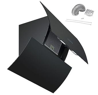 Cookology PREM900BK 90cm Arch Extractor Fan | Black Designer Curved Angled  Cooker Hood & Ducting Kit