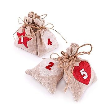 98d49426c Pajoma Calendario de Adviento Bolsa - 24 - Bolsa de tela para colgar  rellenar y numerada, Navidad: Amazon.es: Juguetes y juegos
