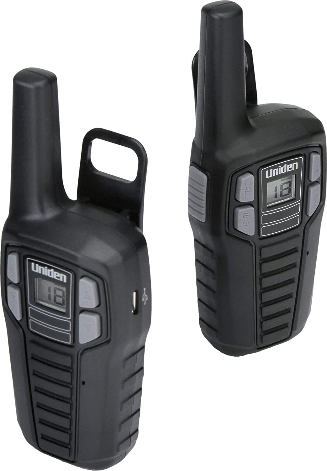 2-Pack Black Color FRS Two-Way Radio Walkie Talkies Rechargeable Batteries with Convenient Charging Cable NOAA Weather Channels Roger Beep Uniden SX167-2C Up to 16 Mile Range