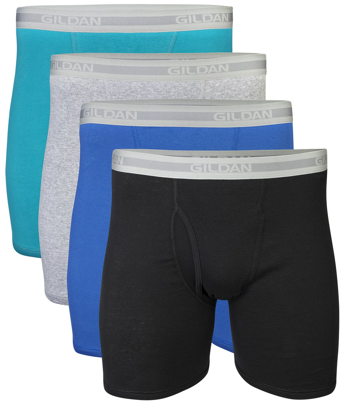 Gildan Men's Regular Leg Boxer Brief 4 Pack, XX-Large, Mixed Blue/Grey