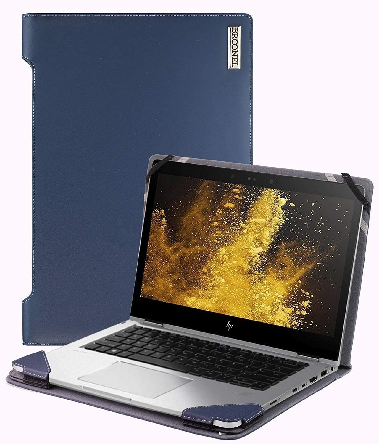 """Broonel - Profile Series - Blue Leather Laptop Case - Compatible with The HP ProBook 450 G7 15.6"""" FHD Laptop"""
